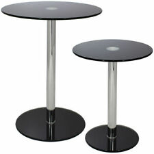 Glass Round Modern Side & End Tables with Flat Pack