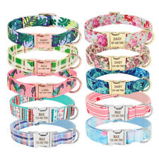 Floral Pet Dog Personalized Collars Heavy Duty Metal Cat ID Name Buckle Engraved