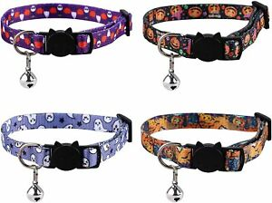 4 Pcs Halloween Adjustable Cat and Small Dog Collar with Bells and Safety Buckle