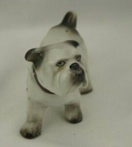 Made in Japan English Bulldog Figurine Gray White