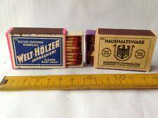2 alte Streichholzschachteln,Welthölzer + Haushaltware,Zündhölzer,orig.Füllung
