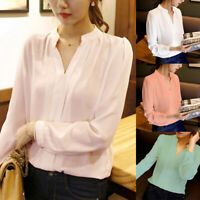 Women's Solid Color Casual Chiffon Blouse V-Neck Long Sleeve Ladies Office Tops