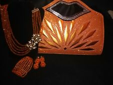 Beautiful Orange Bag and matching Glass Bead Necklace Set for Sale.