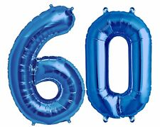 """Big 40"""" 60 Blue Foil Number Balloons Photo Shoot 60th Birthday Float Helium USA"""