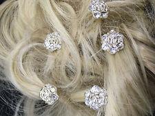 Bridal Wedding Prom Silver Rose Clear Crystal Diamante Hair Pins Clips  x 5 UK