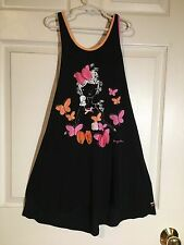 Deux Par Deux Sleeveless Tunic with Print Miss Butterfly Black, Striped, Size 12
