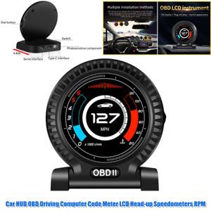 Car LCD HUD Head-up Display Speedometer OBD Driving Computer Code Meter Voltage