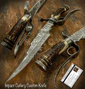 IMPACT CUTLERY RARE CUSTOM DAMASCUS ART BOWIE KNIFE STAG ANTLER HANDLE