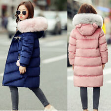 School Girls Kids Hooded Long Parka Overcoats Thick Coat Fur Thick Jacket Down