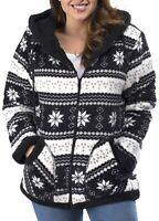Trail Crest Womens Jacket Black Size XL Sherpa Lined Hooded Printed $79 867