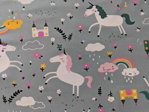 Princess Unicorn Cotton Jersey (By the Half Mere) Sage Green Stretch Fabric