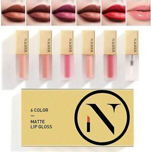 Matte Velvety Lip gloss Set, 6PCS Nude Moisturizer Smooth LipGloss, Waterproof