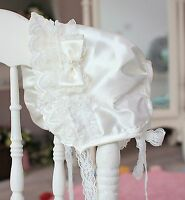 Baby Shower Girl Infant Christening Lace White Wedding Sun hat beanie Bonnet