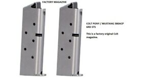 TWO Colt Brand Factory 380  Mustang, Pony, Pocketlite 380ACP 6 Rd Mag Read Desc