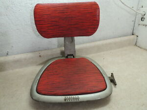 Vintage Riviera Padded Adjustable Clamp on Boat Seat, Red Vinyl, 1950's, WOW
