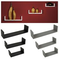 Set Of 3 U Shaped Floating Wooden Wall Mounting Shelf Display Unit Book Storage