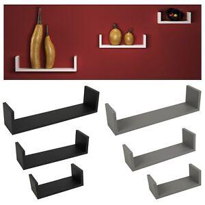 Set Of 3 U Shaped Floating Wooden Wall Mounting Shelf Display Unit Book Storage