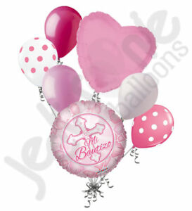 7 pc Rosa Mi Bautizo Balloon Bouquet Party Decoration Pink Girl Baptism Cross