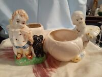 Shawnee Planters Vintage 1950's Girl playing Violin with Dog Girl over pot large