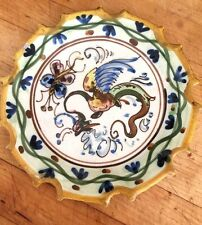 Rare Antique Salvini Italian Majolica Plate c.1890-1900 Griffin and Butterfly