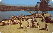 HIDDEN VALLEY RANCH Lake Luzerne, NY Dude Ranch Beach ca 1960s Vintage Postcard