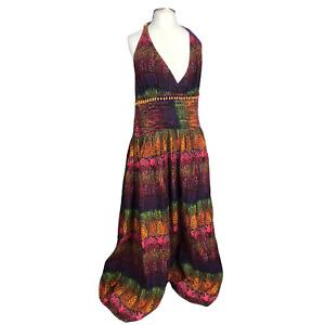 Love Label Plus Size 20  Multicoloured Halter Neck  Open Back Lined Midi Dress