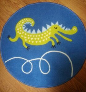 """Round RUG for Children Room Low pile 26 3/8"""" Blue Green Crocodile Animal Print"""