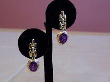 14k yellow gold amethyst dangle earrings