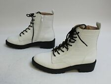 New Look Women's Faux Croc Lace-Up Ankle Boots SC4 White Size3 US:8 UK:6