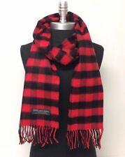 New 100% CASHMERE SCARF Scotland SOFT Wrap Square Check Plaid Red Black UNISEX