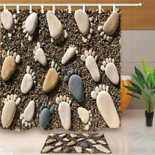 Pebble Footprints Stones on Beach Waterproof Bathroom Fabric Shower Curtain 71in