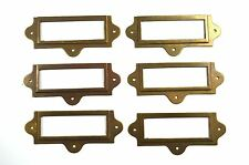 SET  OF 6 ANTIQUED BRASS FILE CABINET LABEL HOLDER NAME PLAN CHEST DRAWER LH2