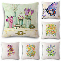 Fashion Flower Cotton Linen Pillow Case Cushion Cover Home Sofa Decor 18inch