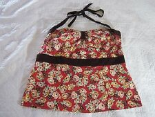 Torrid Womens Halter Top Size 4 Red Floral/Polka Dot Rockabilly Pin Up Style