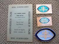 Vintage Bing surfboard patch price list card decal surfing set 1960s surfer surf