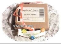 Longaberger Happy Easter Tie-On Basket Porcelain Charm 2010 New In Box Retired