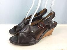 Clarks 10 M brown Leather Wedge heel Sandals Slingback Career Casual Comfort