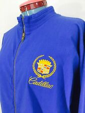 Vintage Cadillac Jacket Blue Zip Up Embroidered Logo Medium Made In USA Cotton