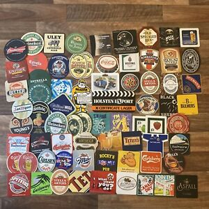 Large Bundle Of Vintage Beer Mat Coasters X72 - Perfect For Home Bar Or Man Cave