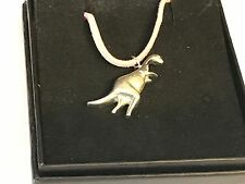"""Diplodocus Tg239 English Pewter On a 18"""" Pink Cord Necklace"""