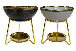 1pce 12cm White or Black Ceramic Oil/Wax Burner with Gold Coloured Metal Stand