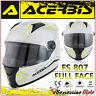 CASCO INTEGRALE ACERBIS FS-807 MOTO SCOOTER FULL FACE BIANCO GIALLO TAGLIA XL