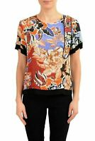 Just Cavalli Multi-Color Short Sleeve Women's Blouse Top US S IT 40