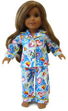 """Blue Heart Flannel Pajamas for 18"""" American Girl Doll Clothes Sew Beautiful"""