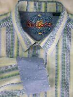 Robert Graham Mens 2XL Long Sleeve Striped Contrast Trim Cotton Shirt XXL