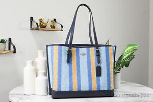 Coach (C4088) Striped Jacquard Canvas Blue/Yellow Mollie Shoulder Tote Handbag