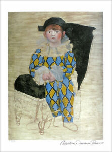 Pablo Picasso PAUL As HARLEQUIN Limited Edition Giclee Estate Signed 20x13