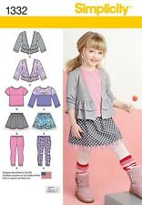 SIMPLICITY SEWING PATTERN CHILD'S SKIRT & KNIT LEGGINGS TOP CARDIGAN 3-8 1332