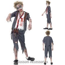 CK792 Zombie School Boy Halloween Walk Dead Child Fancy Dress Up Costume Bloody