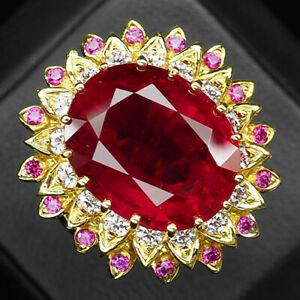 Ruby Blood Red Oval 21.90 Ct. Sapp 925 Sterling Silver Gold Ring Size 7 Jewelry